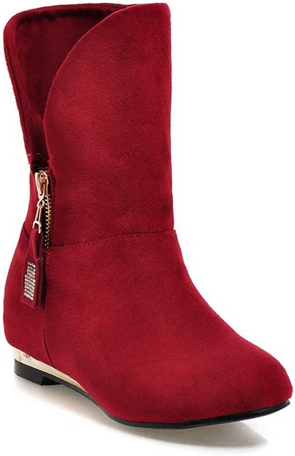 AdeeSu Womens Square Heels Metal Ornament Glass Diamond Foldable Frosted Boots