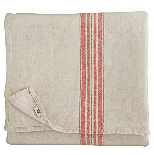 Linen & Cotton Luxus Vintage Shabby Chic Rustikal Tischdecke Provence - 100% Leinen, Beige Natur Rot (136 x 250 cm) Tischtuch Stoff Tischwäsche Rechteckig für Haus Home Küche Dekoration Wohnzimmer