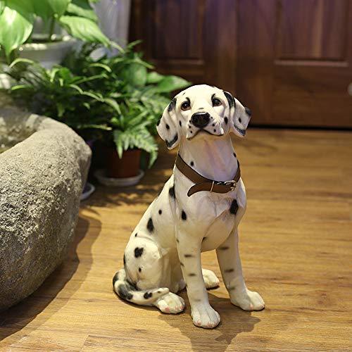 Danmu Statue Dalmatiner-Hund aus Polyresin, Garten-Statuen, Garten-Ornamente, Hof-Statue für Haus und Feengarten, 22,9 x 15,2 x 33,8 cm
