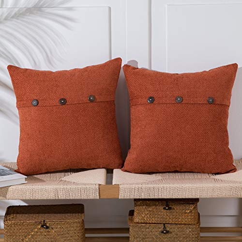 Anickal Burnt Orange Pillow Covers 18x18 Inch with Triple Buttons Set of 2 Chenille Rustic Farmhouse Decorative Throw Pillow Covers Square Cushion Case for Home Sofa Couch Decoration