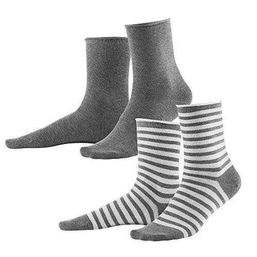 Living Crafts Socken, 2er-Pack 39-42, stone grey melange/white