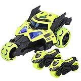 Modelo de moto, modelo de coche de juguete electrónico para niños tres en uno, juguete de moto con luz y música para niños(Amarillo verde)