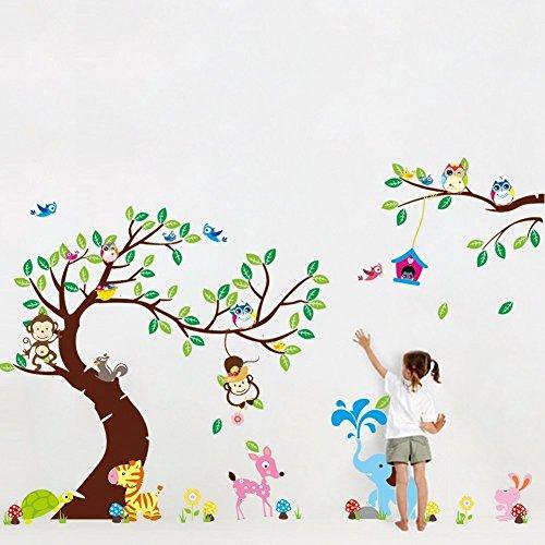 Rainbow fox Sticker mural motif : animaux de la jungle et de la forêt, singes, écureuil, hiboux, balançoire, multicolore RF1205-1214-1017