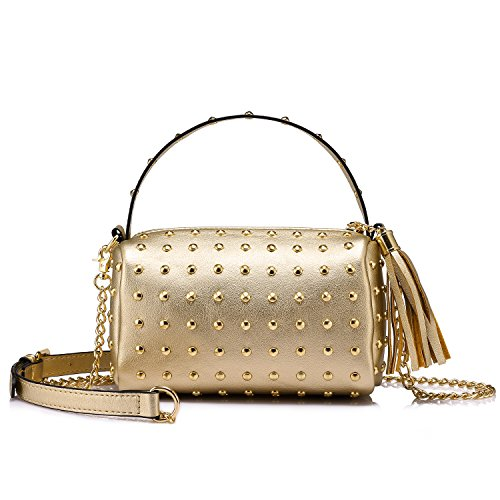 Shoulder Bag Small Side Purse Mini Clutch with Bling Rivets Gold