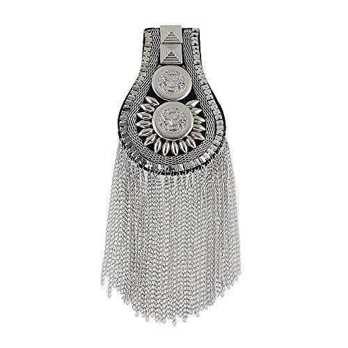 Feelontop® Ein Stück Neue Art Militär Epauletten Schwarz/Silber Steampunk Kostüm Quaste Metall schulterbrett Abzeichen mit Schmuckbeutel