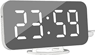 WINGONEER Digital Alarm Clock - Modern Alarm Clock with USB Port Digital Mirror Clock Best Decorative Time Clock for The Wall Table Desk - White Font