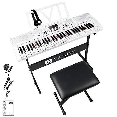 Vangoa Elektronische Klaviertastatur 61 Leuchttasten Tragbare Anfänger Musik-Tastatur Klavier mit Ständer, Klavierhocker, Mikrofon, 600 Klangfarben, 400 Rhythmen, 30 Demos, Weiß