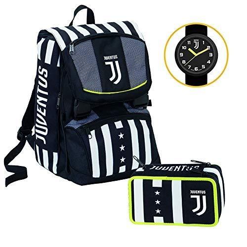 Juventus Schoolpack Winner Forever Zaino Estensibile più Astuccio 3 Zip Completo Di Cancelleria - Orologio Ufficiale...