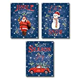 Unframed Merry Christmas Wall Art Print, Lovely Santa Claus,Snowman,Car Art Painting, Set of 3 (8 ' x 10 ') Colorful Lettering -Jingle All The Way,Let It Snow Canvas Poster For Living Room Decor