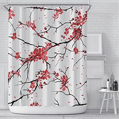 LEIhhdy 150 * 180 cm Mädchen Badezimmer Wasserdicht Polyester Tuch Display Rosa Kirschblüte Pfirsichblüten Duschvorhang Weißer Hintergr&