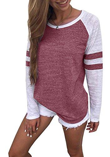 Generic Hiistandd Damen Langarmshirt Farbblock Langarm T-Shirt Casual Rundhals Tunika Tops (Large, Jujube rot)