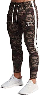 Wangdo Men's Zipper Pockets Camouflage Joggers Sweatpants for Casual Gym Workout Slim Sport Drawstring Long Pants