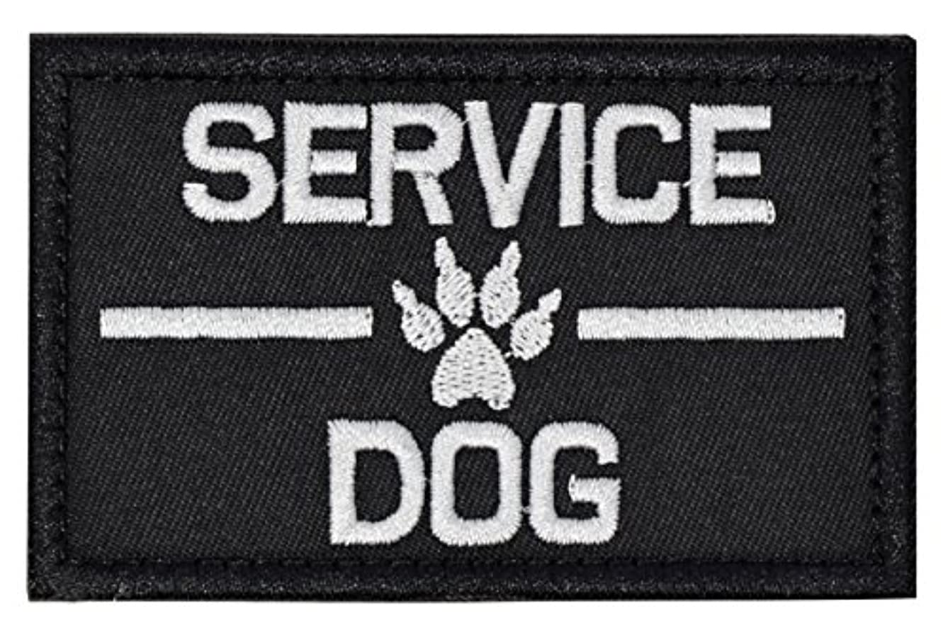 Service Dog Patch Embroidered Tactical Patch Hook and Loop Fastener Backing for Pet Vest Harness(Service Dog +Black/White1)