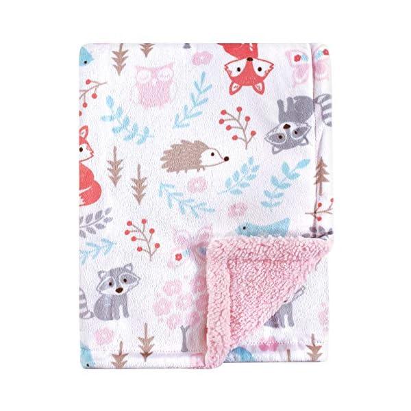 Hudson Baby Unisex Baby Plush Blanket with Sherpa Back, Girl Woodland, One Size