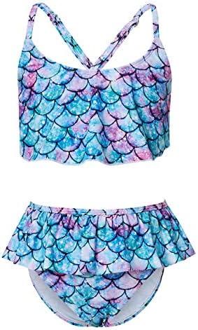 Adolife Two Piece Bikini Bathing Suit for Toddler Girls Ruffle Falbala Swimsuits with Criss product image