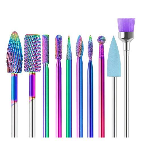 XIAOFANG 10 en 1 Juegos de Broca de uñas Kit de perforación de uñas eléctricas 3/32'Archivos de clabide de tungsteno Carburo Manicura Pedicura Set Home Salon Uso (Color : Set)