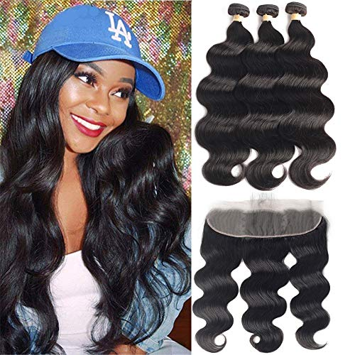 3 Bundles with Frontal Body Wave 20 22 24+18 Frontal LUXEDIVA Brazilian Virgin Real Human Hair Extensions with Closure 13x4 Lace Frontal Natural Color 10A Wavy Weft