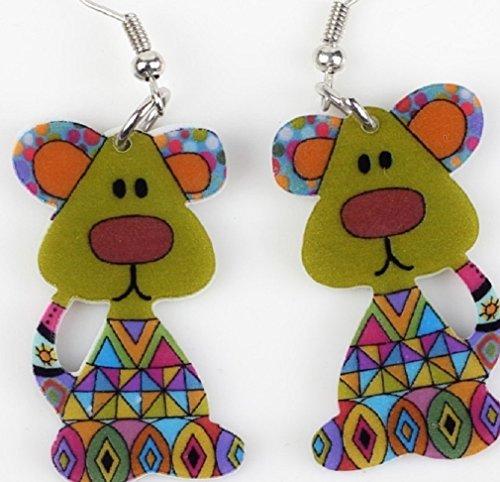 Cute dog acrílico earrings-1par verde