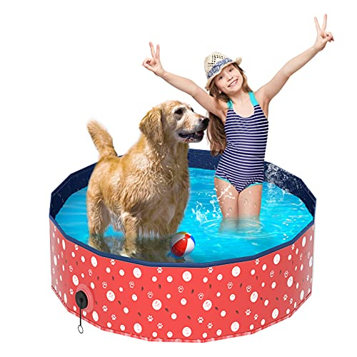 Foldable Paddling Pool for Dog, Luckits Pet Paddling Pool Portable PVC Large Bathing Tub Non-Slip Kiddie Pool Scratch-Resistant Foldable Dog Pool for Cats Dogs Pets Kids Indoor Outdoor