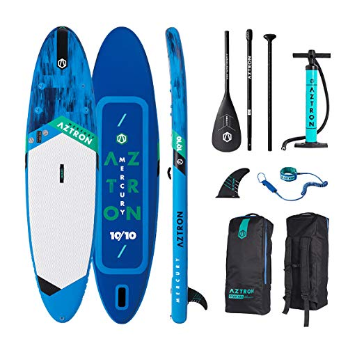 "Aztron Mercury 10'10"" Double Chamber Inflatable Stand Up Paddle SUP Board with Adjustable Paddle, Bag, Pump and Leash"