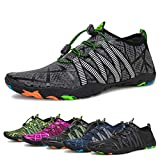 Water Shoes Mens Womens Beach Quick Dry Swim Barefoot Shoes Aqua Sock Outdoor Athletic Pool Shoes for Kayaking, Swimming, Yoga, Surfing, Fishing (B-Gray, 46)