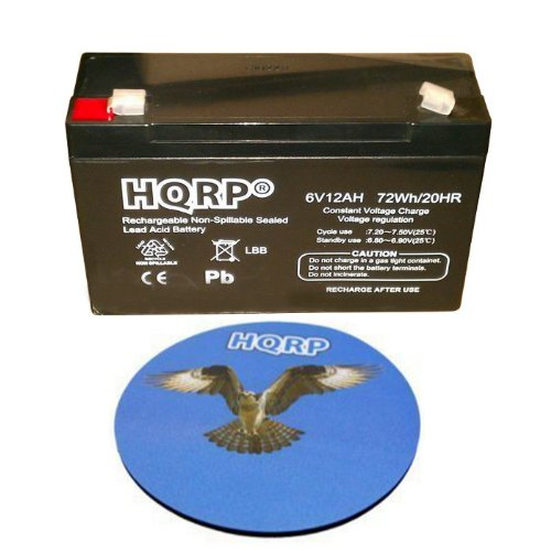 Price comparison product image HQRP 6V 12Ah High Capacity SLA Battery for Emergency Lights Dual-Lite 0120800 / 12-804 / 12-805 / 12-828 / 12-830 / 12-832 / 12-865 Plus HQRP Coaster