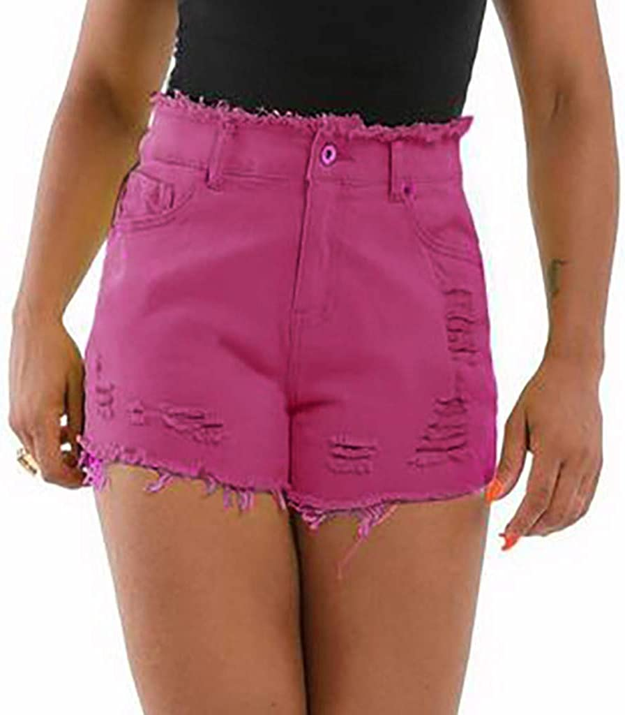 UOFOCO Women Jean Shorts High Waisted Frayed Raw Hemline Ripped Denim Short Jeans