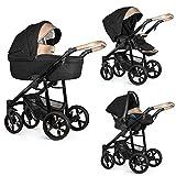 Venicci Lanco 3-in-1 Reisesystem Prestige Gold Edition schwarz mit Babyschale