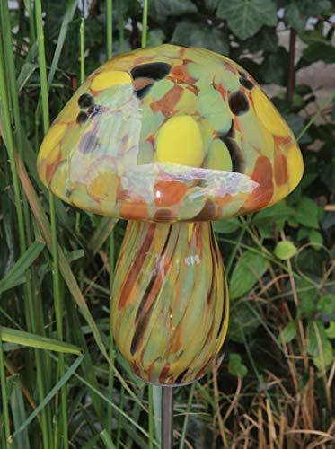 Glaspilz Rosenkugel Gartenstecker Pilz aus Glas Gartendeko Gartendekoration Handarbeit Rankstab Dekoration Beetstecker Topfstecker Bernstein