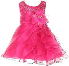 Cinderella Couture Dazzling Two Tone Cascading Rhinestone Crystal Organza Long Ruffle Baby Dress