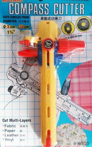 C-106 Rotary Compass Circle Cutter, Cut Multi Layers, Fabric Paper Leather Vinyl – Cut Diameter from 3cm-24cm