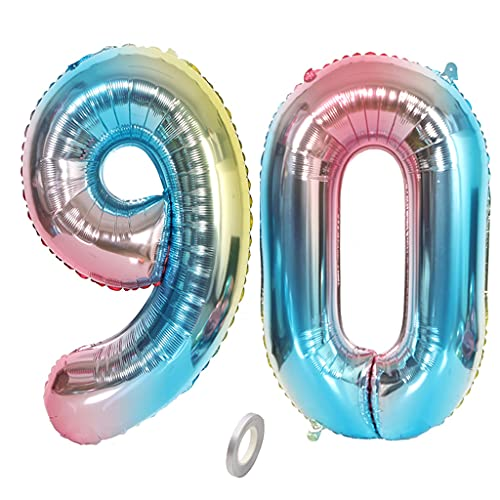 Jrzyhi Globos con número 90 para cumpleaños, arcoíris gigante, número 90, helio, número grande, número XXL, número 90. Happy Birthday 90 años, globos gigantes para fiesta de cumpleaños de 32 pulgadas