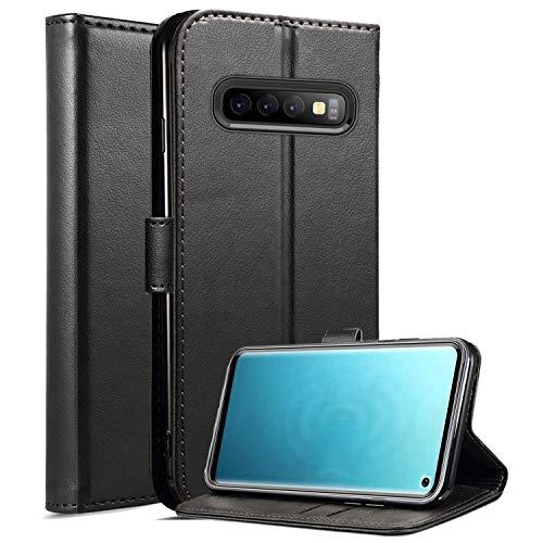 Roba de Cellulare Samsung Galaxy S10 Case, Custodia in Pelle Magnetica a Rilievo Magnetica con Supporto per Stand Integrato per Samsung Galaxy S10 (Black)