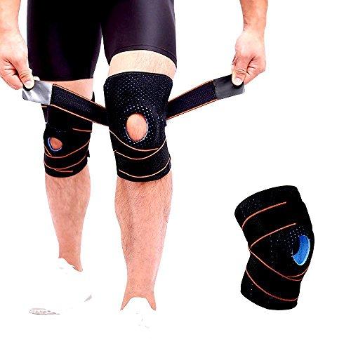 Kniestütze für Arthritis ACL und Meniskusriss, Kniebandage entlastet das Kniegelenk und aegen Knieschmerzen, Knieorthese für Damen Herren (Orange)