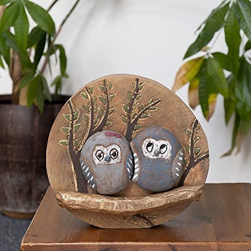 Moritz Figura decorativa de búhos con pareja de búhos de madera, ideal como regalo