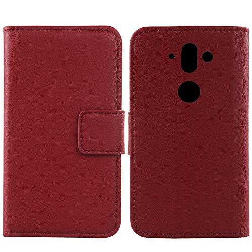 Gukas Design Echt Leder Tasche Für Nokia 8 Sirocco Hülle Lederhülle Handyhülle Handy Flip Brieftasche mit Kartenfächer Schutz Protektiv Genuine Premium Hülle Cover Etui Skin (Dark Rot)