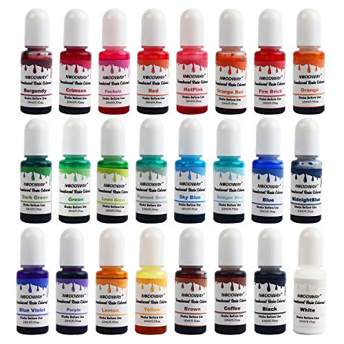 NODDWAY Epoxy UV Resin Pigment 24 Colors, Epoxy Resin Liquid Dye, Transparent Resin Colorant for Making Resin Art Jewelry/Tumbler