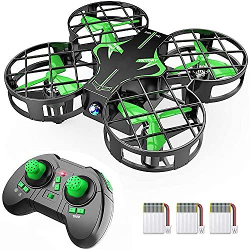 H823H - Mini drone para Niños,21 minutos con autonomía de 3 pilas para avión helicóptero, modo sin cabeza, mantenimiento de altitud, funcionamiento con un botón, 360 ° para principiantes y niños