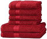 AmazonBasics Handtuch-Set, ausbleichsicher, 2 Badetücher und 4 Handtücher, Rot, 100% Baumwolle 500g/m²