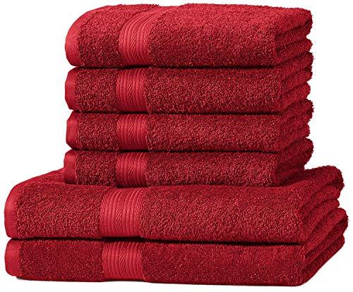 AmazonBasics - Set di 2 asciugamani da bagno e 4 asciugamani per le mani che non sbiadiscono, colore Rosso