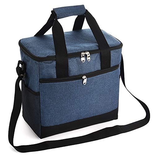 Large Lunch Bag - Insulated Collapsible Cooler Bag for Adult Men Women Storage Pockets for Outdoor Travel Hiking Beach Picnic BBQ PartyNavy