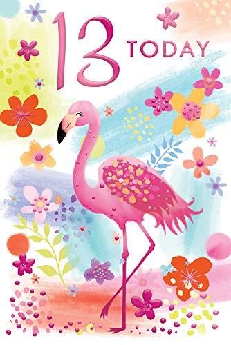 13 Leeftijd 13 Vandaag Heldere Flamingo Vrouw Gelukkige Verjaardagskaart Mooie Vers