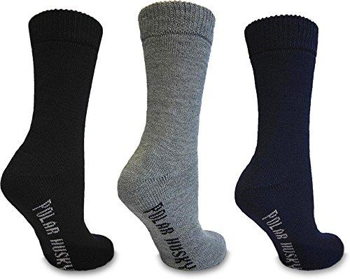 Polar Husky® 3 Paar Schafwollsocken mit Vollfrottee, Thermo Socken - Super warm Farbe Schwarz/Grau/Blau Größe 43/46