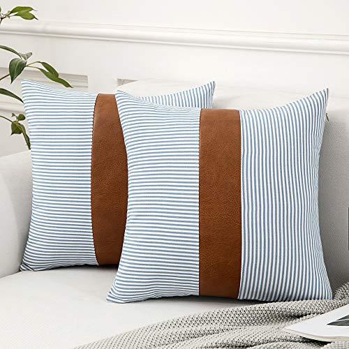 MIULEE 2 Unidades Fundas de Cojín para Sofá Compuesto de Cuero Almohada con Diseño de Rayas Cómoda Moderna Decoración para Habitacion Comedor Cama Dormitorio Oficina Hogar salón 45 x 45cm Azul Claro