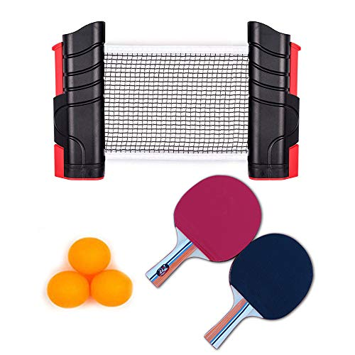 Ping Pong Set, Tabletop Table Tennis Set Anywhere Professional Ping Pong Paddle Net Equipment to-Go Includes Retractable Net 2 Ping Pong Paddles, 3 pcs Balls, Attach to Any Table Surface for All Ages