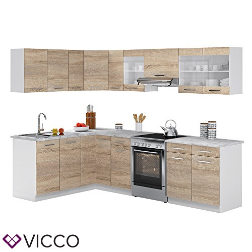 Vicco Küche Rick Eck/Winkel-Küchenzeile Küchenblock Einbauküche 270 cm Sonoma - Frei kombinierbare Einheiten - R -Line