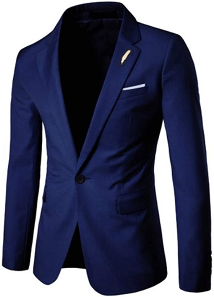 GREFER-Mens Blazer Mens Notched Embroidery Lapel Regular Fit Jackets Stylish One Button Suit Sport Coats