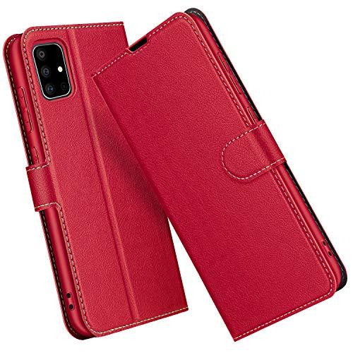 ELESNOW Funda Samsung Galaxy A71, Premium Cuero Billetera Flip Protectora Carcasa Magnético para Samsung Galaxy A71 (Rojo)