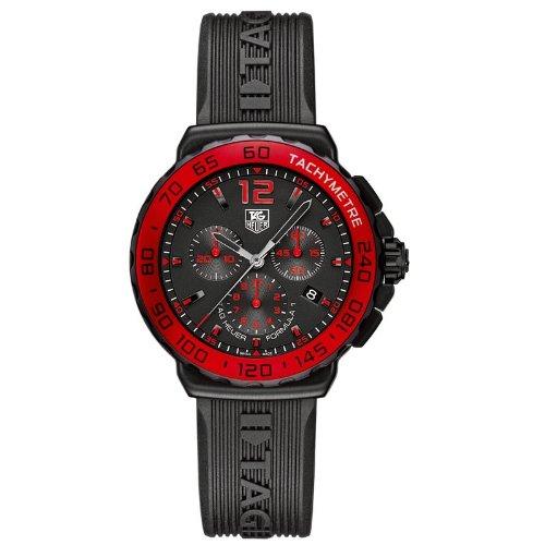 Tag Heuer Formula 1cronógrafo Rojo Bisel Reloj de Hombre de Cuarzo con Negro Esfera Cronógrafo y Correa de Goma en Color Negro CAU1117. FT6024