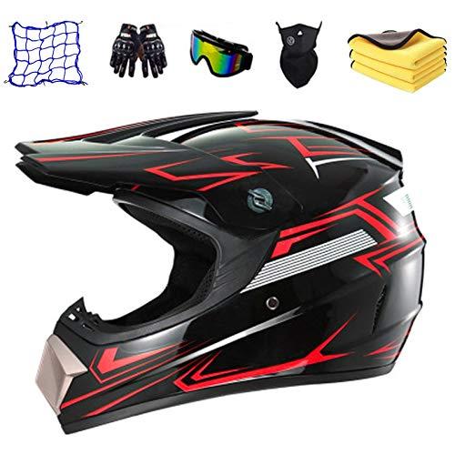 JUYHTY Casco de motocross para niños, bicicleta eléctrica para adultos Conjunto de casco de moto para niños para niños con guantes, gafas, bolso de malla de casco, toalla,XL